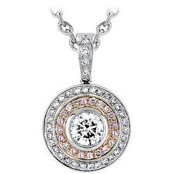 Diamond Sphere Bezel and Pink Pave Necklace - 1.53 ctw.