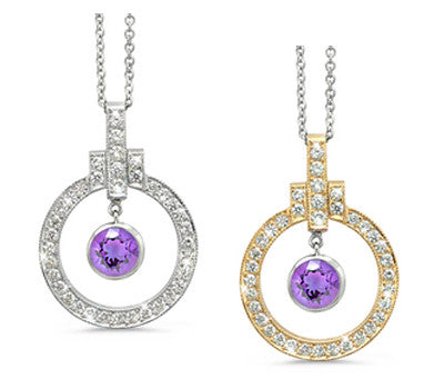 Elegant Bow Twin Circle Amethyst & Diamond Pendant Necklace