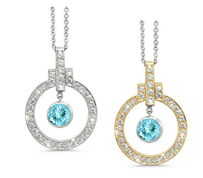 Elegant Bow Twin Circle Aquamarine & Diamond Pendant Necklace
