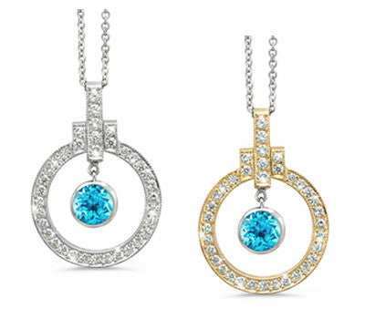 Elegant Bow Twin Circle Blue Topaz & Diamond Pendant Necklace