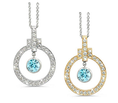 Elegant Bow Twin Circle Blue Zircon & Diamond Pendant Necklace