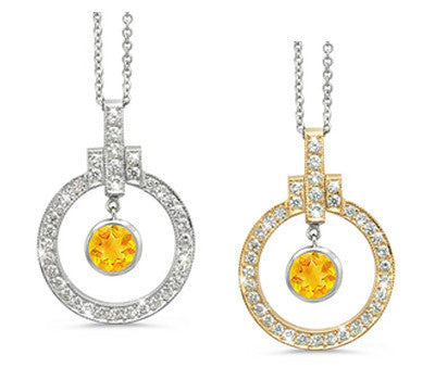 Elegant Bow Twin Circle Citrine & Diamond Pendant Necklace