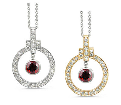 Elegant Bow Twin Circle Garnet & Diamond Pendant Necklace