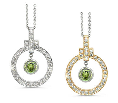 Elegant Bow Twin Circle Green Tourmaline & Diamond Pendant Necklace