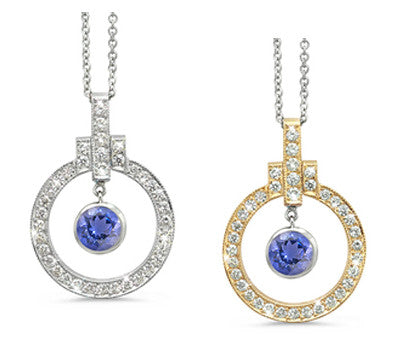 Elegant Bow Twin Circle Iolite & Diamond Pendant Necklace