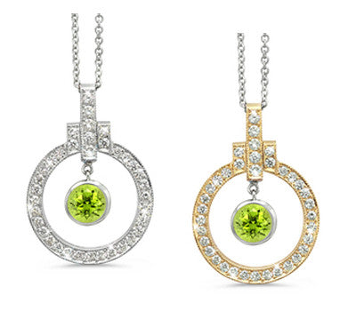 Elegant Bow Twin Circle Peridot & Diamond Pendant Necklace