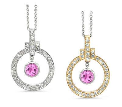 Elegant Bow Twin Circle Pink Sapphire & Diamond Pendant Necklace