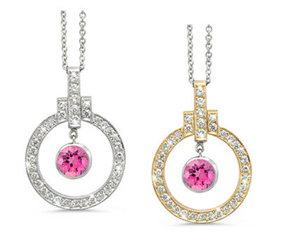 Elegant Bow Twin Circle Pink Tourmaline & Diamond Pendant Necklace