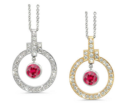 Elegant Bow Twin Circle Ruby & Diamond Pendant Necklace