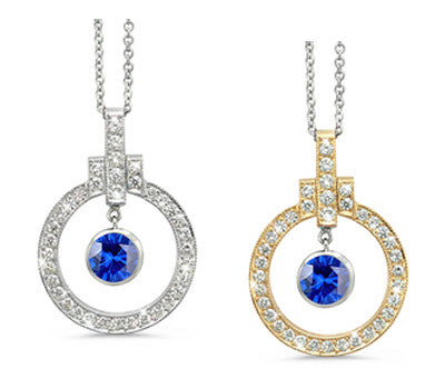 Elegant Bow Twin Circle Blue Sapphire & Diamond Pendant Necklace