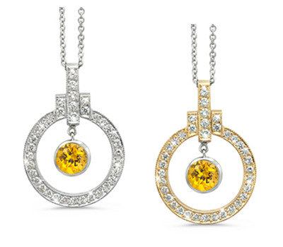 Elegant Bow Twin Circle Yellow Sapphire & Diamond Pendant Necklace
