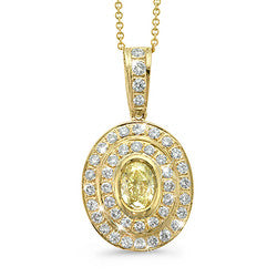 Natural Yellow Oval-Shaped Diamond Necklace