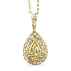 Natural Yellow Pear-Shaped Diamond Necklace