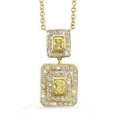 Natural Yellow Double Rectangular Diamond Necklace