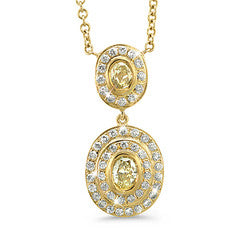 Natural Yellow Duo Oval Vintage Diamond Necklace