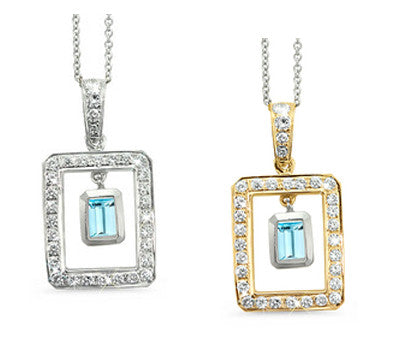 Twin Rectangular Shaped Aquamarine & Diamond Pendant Necklace