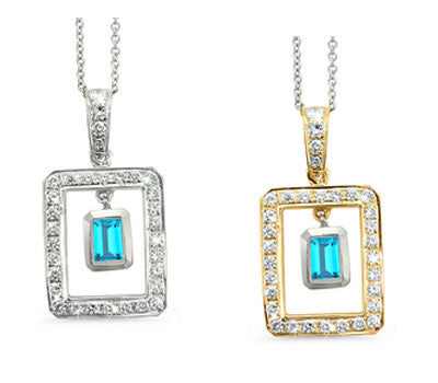 Twin Rectangular Shaped Blue Topaz & Diamond Pendant Necklace