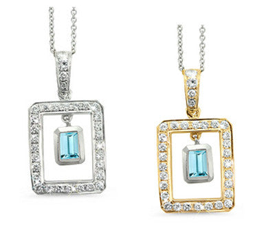 Twin Rectangular Shaped Blue Zircon & Diamond Pendant Necklace