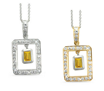 Twin Rectangular Shaped Citrine & Diamond Pendant Necklace