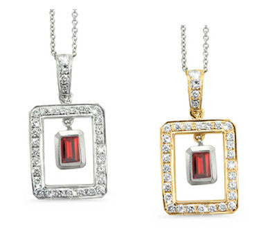 Twin Rectangular Shaped Garnet & Diamond Pendant Necklace