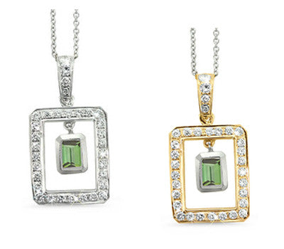 Twin Rectangular Shaped Green Tourmaline & Diamond Pendant Necklace