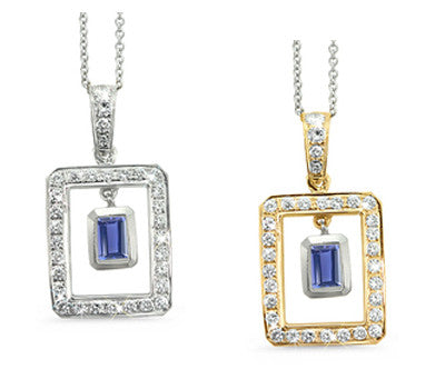 Twin Rectangular Shaped Iolite & Diamond Pendant Necklace