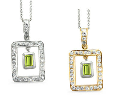 Twin Rectangular Shaped Peridot & Diamond Pendant Necklace