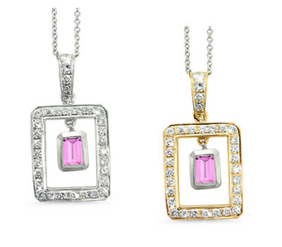 Twin Rectangular Shaped Pink Sapphire & Diamond Pendant Necklace