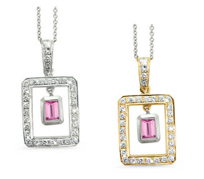 Twin Rectangular Shaped Pink Tourmaline & Diamond Pendant Necklace