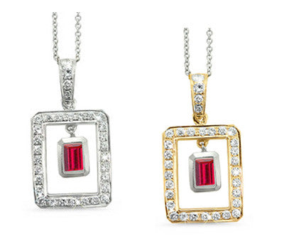 Twin Rectangular Shaped Ruby & Diamond Pendant Necklace