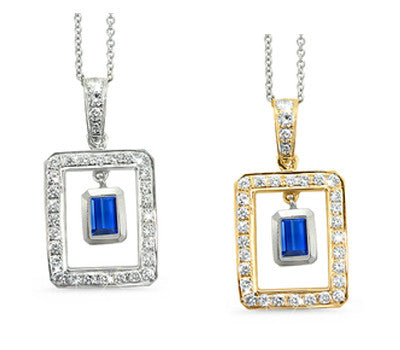 Twin Rectangular Shaped Blue Sapphire & Diamond Pendant Necklace