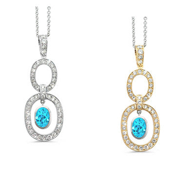 Trio Oval Blue Topaz & Diamond Pendant Necklace