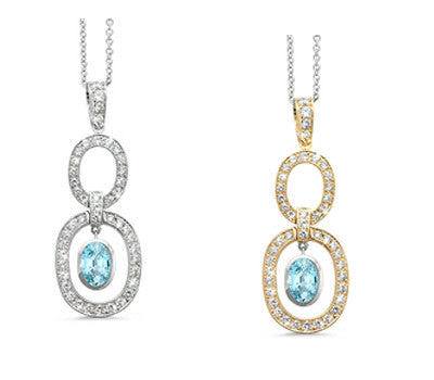 Trio Oval Blue Zircon & Diamond Pendant Necklace