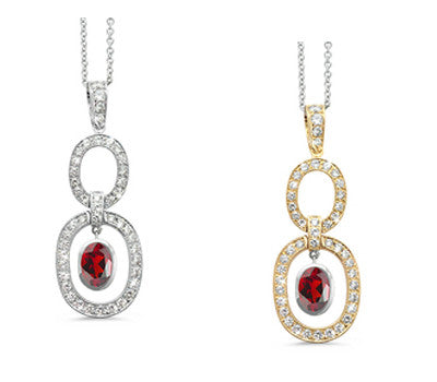 Trio Oval Garnet & Diamond Pendant Necklace