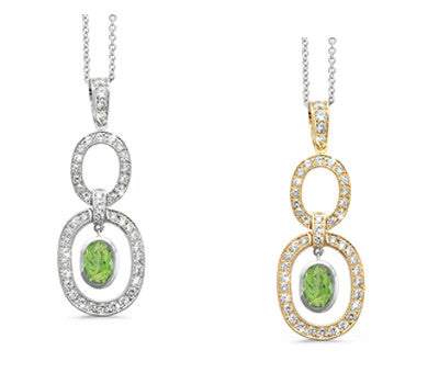 Trio Oval Green Tourmaline & Diamond Pendant Necklace