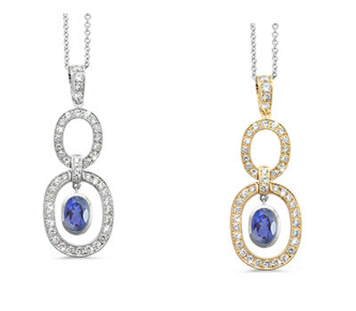 Trio Oval Iolite & Diamond Pendant Necklace