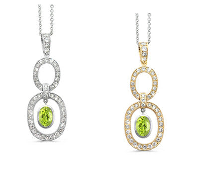 Trio Oval Peridot & Diamond Pendant Necklace