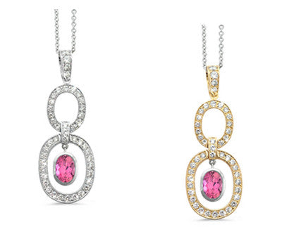 Trio Oval Pink Tourmaline & Diamond Pendant Necklace