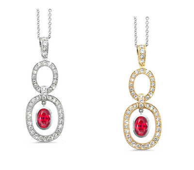 Trio Oval Ruby & Diamond Pendant Necklace