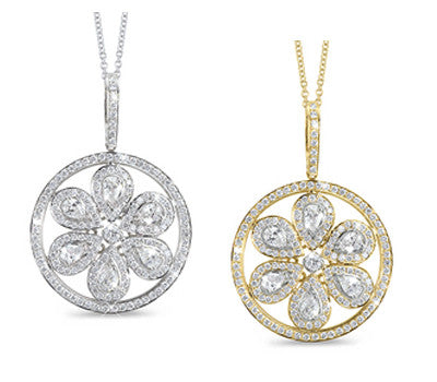 Pear Shaped Floral Design Round Diamond Necklace