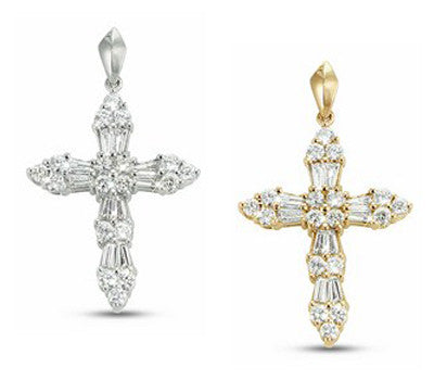 Star-Dazzle Diamond Cross Pendant with Shared Prong Set Round Cut and Tapered Baguette Stones