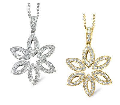 Marquise Shaped Petals Floral Design Diamond Necklace