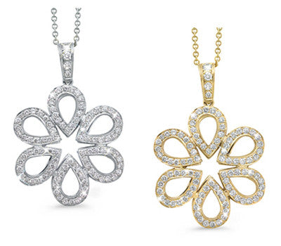 Floral Design Diamond Pendant with Pear Shaped Petals Diamonds Necklace