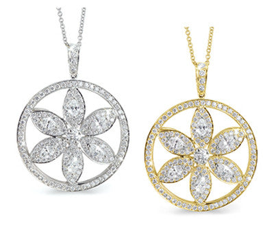 Flower in a Circle Diamond Necklace