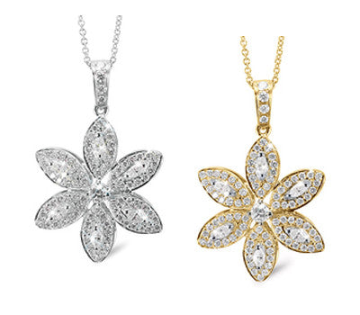 Marquise Shaped Floral Design Diamond Necklace