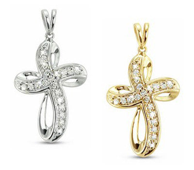 Modern, Dynamic and Rounded Diamond Cross Necklace