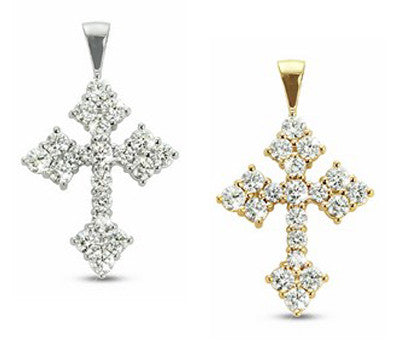 Dazzling Prong Set Diamond Cross Necklace