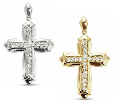 Bold Inset Pave Diamond Cross Necklace