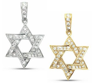 Convex Design Star Of David Pave Diamond Necklace