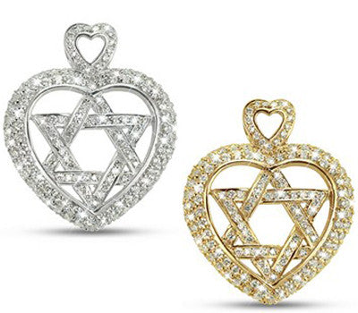 Star Of David in a Heart Pave Diamond Necklace